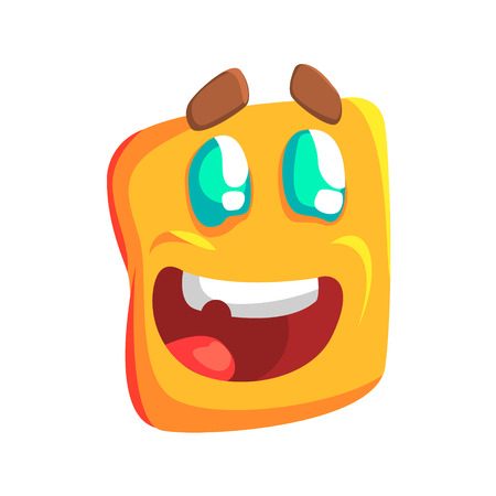 hopeful: Excited Yellow Emoji Cartoon Square Funny Emotional Face Vector Colorful Isolated Sticker. Comic Childish Character Head With Facial Expression For Emoticon Icon.