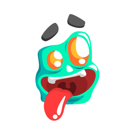 joking: Silly Blue Emoji Cartoon Square Funny Emotional Face Vector Colorful Isolated Sticker. Comic Childish Character Head With Facial Expression For Emoticon Icon.