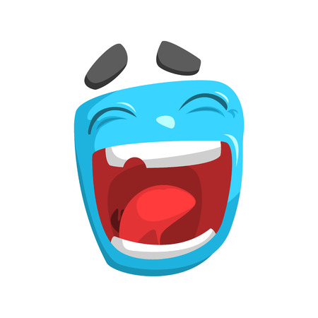 laughing out loud: Laughing Blue Emoji Cartoon Square Funny Emotional Face Vector Colorful Isolated Sticker. Comic Childish Character Head With Facial Expression For Emoticon Icon. Illustration