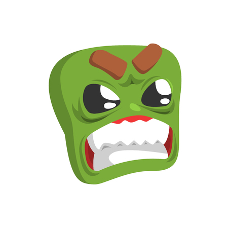 Angry Green Emoji Cartoon Square Funny Emotional Face Vector Colorful Isolated Sticker. Comic Childish Character Head With Facial Expression For Emoticon Icon.