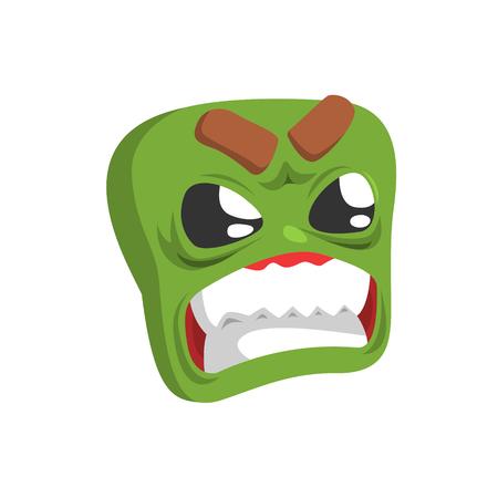 Verärgerte Grün Emoji Cartoon-Platz Lustige Emotional Gesicht Vektor bunten isoliert Aufkleber. Comic Childish Charakterkopf mit Gesichtsausdruck Für Emoticon-Symbol.