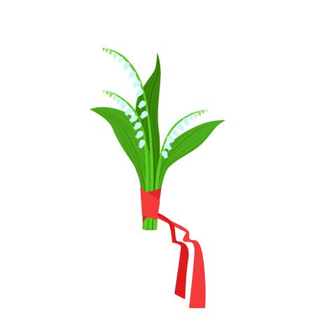 lily of the valley: Lily Of The Valley Flower Bouquet Tied With Red Ribbon, Flower Shop Decorative Plants Assortment Item Cartoon Vector Illustration. Natural Floral Composition From Florist Store Isolated Item.