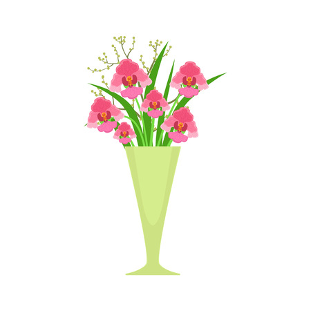 flower vase: Orchids Flower Bouquet In Tall Flower Vase, Flower Shop Decorative Plants Assortment Item Cartoon Vector Illustration. Natural Floral Composition From Florist Store Isolated Item.