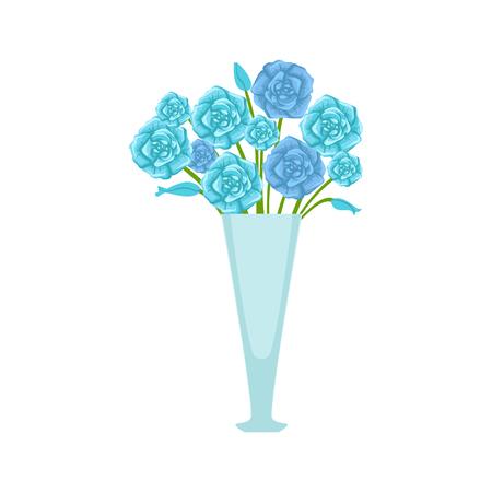 Blue Roses Flower Bouquet In Tall Flower Vase Flower Shop