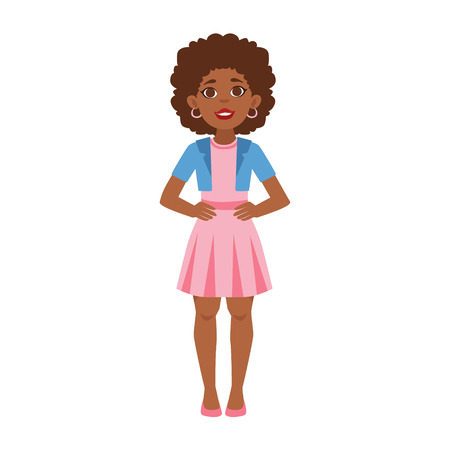 Black Young Woman Standing, Part Of Growing Stages With Kids In Different Age Vector Set. Cartoon Character Development Process Stage Collection Piece Vector Illustation.. Cartoon Character Development Process Stage Collection Piece Vector Illustration. Illustration