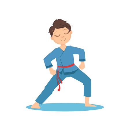 Boy Doing Meditative Tai Chi Exercise In Blue Kimono On Karate Martial Art Sports Training Cute Smiling Cartoon Character. Part Of Kids Fighters In Traditional Asian Karate Outfit Collection Of Vector Illustrations Illustration