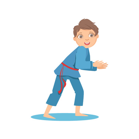Boy In Blue Kimono In Sparring Fight On Karate Martial Art Sports Training Cute Smiling Cartoon Character. Part Of Kids Fighters In Traditional Asian Karate Outfit Collection Of Vector Illustrations Illustration