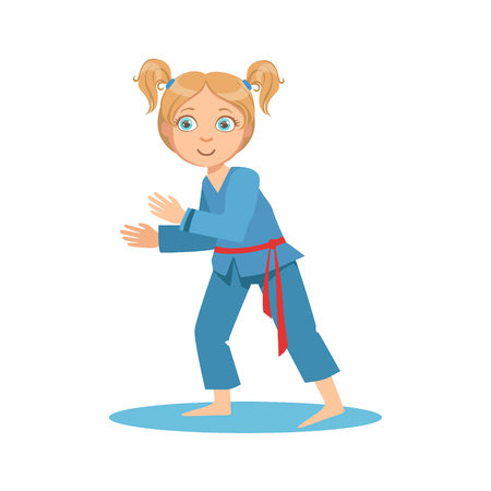 Girl In Blue Kimono Fighting In Sparring On Karate Martial Art Sports Training Cute Smiling Cartoon Character. Part Of Kids Fighters In Traditional Asian Karate Outfit Collection Of Vector Illustrations Illustration