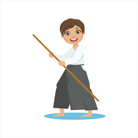 Boy With The Pole In Wide Trousers On Karate Martial Art Sports Training Cute Smiling Cartoon Character. Part Of Kids Fighters In Traditional Asian Karate Outfit Collection Of Vector Illustrations