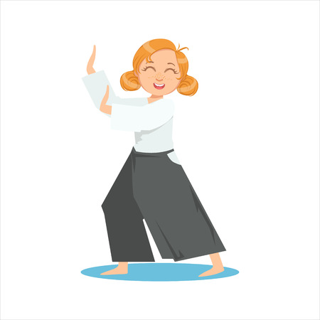 Girl Doing Meditative Tai Chi Exercise In Wide Trousers On Karate Martial Art Sports Training Cute Smiling Cartoon Character. Part Of Kids Fighters In Traditional Asian Karate Outfit Collection Of Vector Illustrations