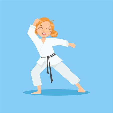 Girl With Ponytails In White Kimono Sur Karate Martial Art Entraînement sportif Mignon Sourire personnage de bande dessinée. Part Of Fighters Enfants En karaté traditionnel asiatique Outfit Collection Of Vector Illustrations