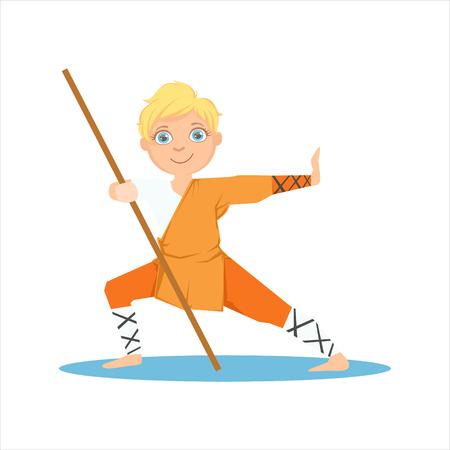Jongen In Shaolin monnik Oranje Kleren Met een paal op Karate Martial Art Trainen Leuk glimlachend stripfiguur. Deel Van Kids Fighters In Traditionele Aziatische karateuitrusting Collectie Van Vector Illustraties Stock Illustratie