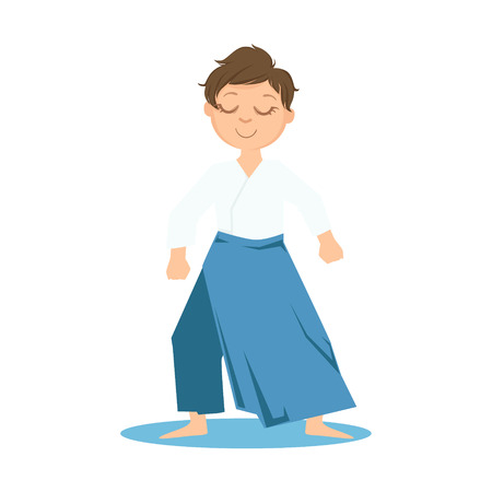 Boy In Wide Trousers Doing Zen Relaxed Stance On Karate Martial Art Sports Training Cute Smiling Cartoon Character. Part Of Kids Fighters In Traditional Asian Karate Outfit Collection Of Vector Illustrations