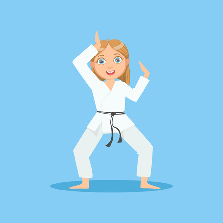 Girl In White Kimono Demontrating Starting Stance On Karate Martial Art Sports Training Cute Smiling Cartoon Character. Part Of Kids Fighters In Traditional Asian Karate Outfit Collection Of Vector Illustrations Illustration