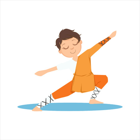 Boy In Shaolin Monk Orange Clothes Doing Meditative Tai Chi Exercise On Karate Martial Art Sports Training Cute Smiling Cartoon Character. Part Of Kids Fighters In Traditional Asian Karate Outfit Collection Of Vector Illustrations