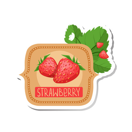 marmalade: Strawberry Bright Color Jam Label Sticker Template In Square FrameHomemade Garden Fruit Sweet Marmalade Vector Isolated Illustration. Illustration