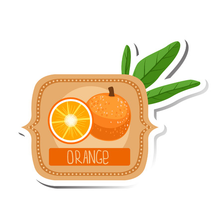 marmalade: Orange Bright Color Jam Label Sticker Template In Square FrameHomemade Garden Fruit Sweet Marmalade Vector Isolated Illustration.