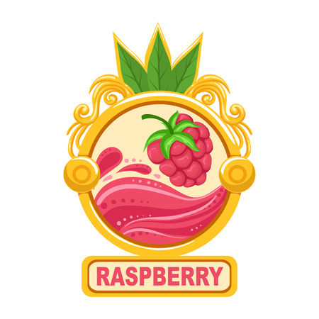 marmalade: Raspberry Bright Color Jam Label Sticker Template In Round FrameHomemade Garden Fruit Sweet Marmalade Vector Isolated Illustration.