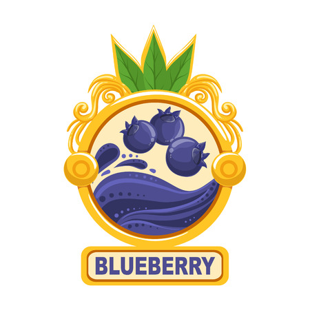 signed: Blueberry Bright Color Jam Label Sticker Template In Round FrameHomemade Garden Fruit Sweet Marmalade Vector Isolated Illustration.