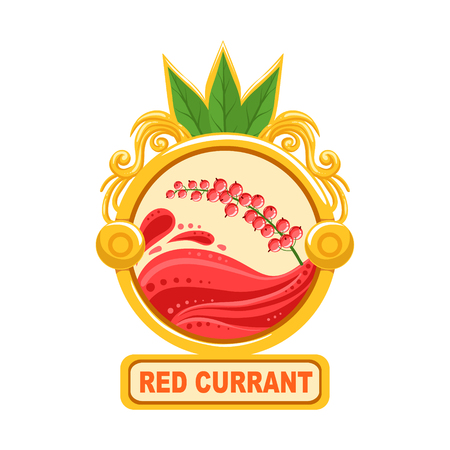 Red Currant Bright Color Jam Label Sticker Template In Round FrameHomemade Garden Fruit Sweet Marmalade Vector Isolated Illustration.