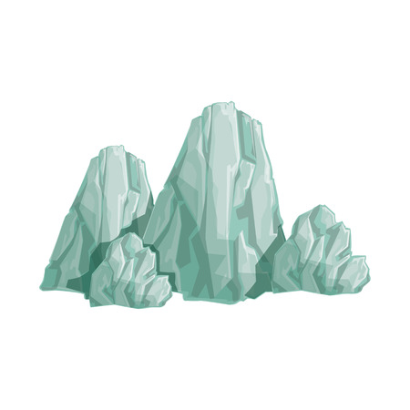 Range Of Grey Rocks Natural Landscape Design Element, Part Of Scenery In Nature Landscaping Constructor. Detailed Cartoon Vector Objects For Land Surface Constructing.