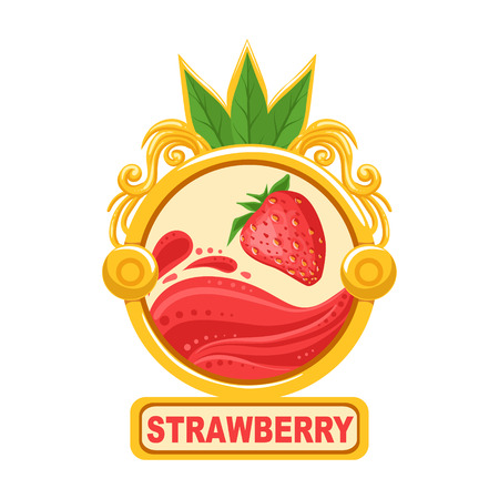 signed: Strawberry Bright Color Jam Label Sticker Template In Round FrameHomemade Garden Fruit Sweet Marmalade Vector Isolated Illustration.