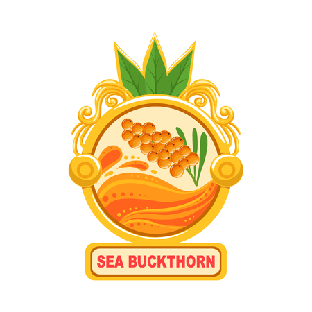 Sea Buckthorn Bright Color Jam Label Sticker Template In Round FrameHomemade Garden Fruit Sweet Marmalade Vector Isolated Illustration.