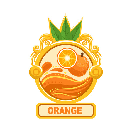 marmalade: Orange Bright Color Jam Label Sticker Template In Round FrameHomemade Garden Fruit Sweet Marmalade Vector Isolated Illustration. Illustration