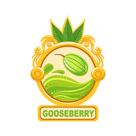 signed: Gooseberry Bright Color Jam Label Sticker Template In Round FrameHomemade Garden Fruit Sweet Marmalade Vector Isolated Illustration.