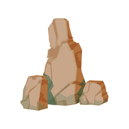 Tall Pile Of Brown Rocks Natural Landscape Design Element, Part Of Scenery In Nature Landscaping Constructor. Detailed Cartoon Vector Objects For Land Surface Constructing.