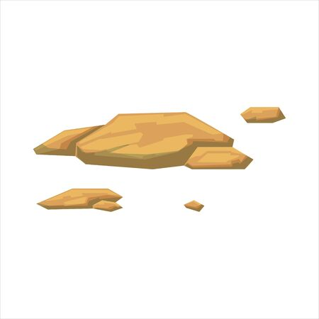pave: Small Flat Yellow Rocks Natural Landscape Design Element, Part Of Scenery In Nature Landscaping Constructor. Detailed Cartoon Vector Objects For Land Surface Constructing.