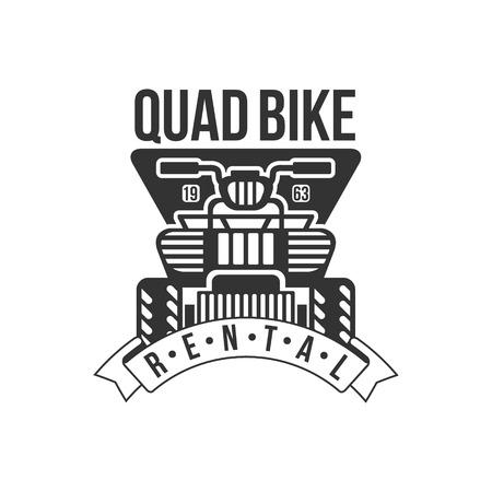 quad: Quad Bike Renting Label Design Black And White