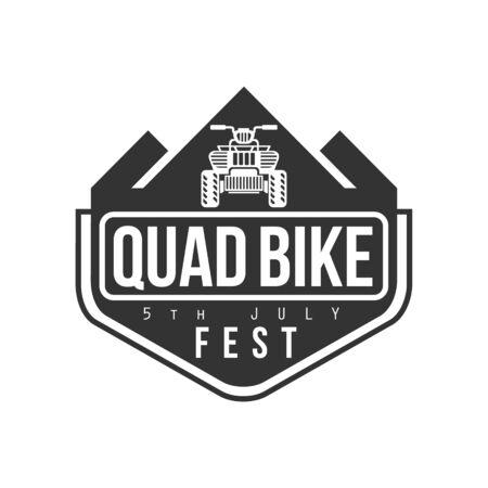 quad: Quad Bike Festival Label Design Black And White