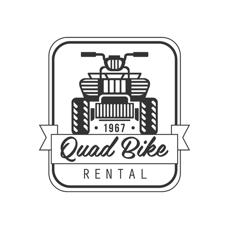 quad: Quad Bike For Rent Label Design Black And White