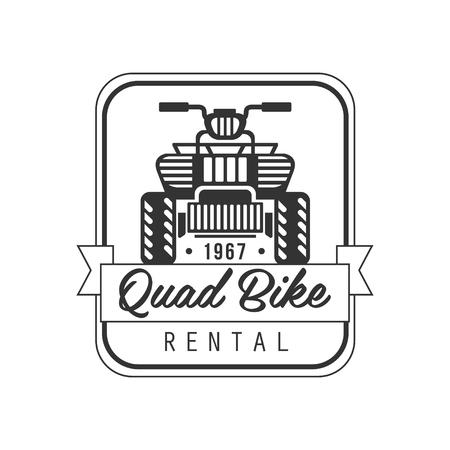 quad: Quad Bike For Rent Label Design Black And White