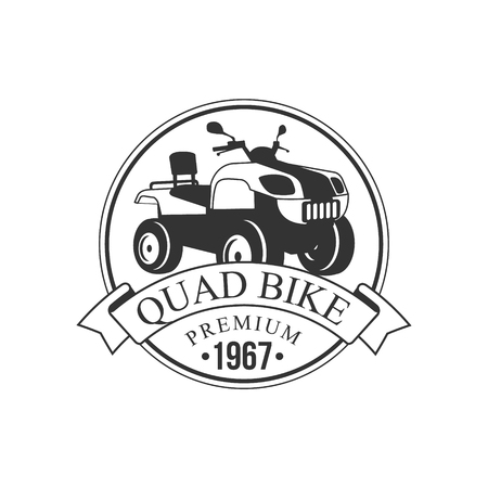 quad: Quad Bike Premium Label Design Black And White