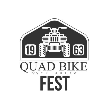 quad: Quad Bike Event Label Design Black And White Illustration