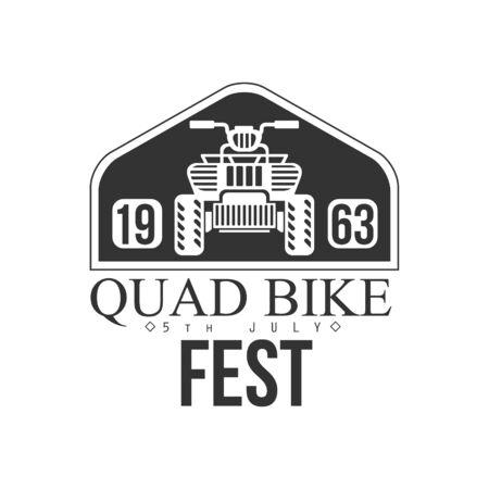quad: Quad Bike Event Label Design Black And White Illustration
