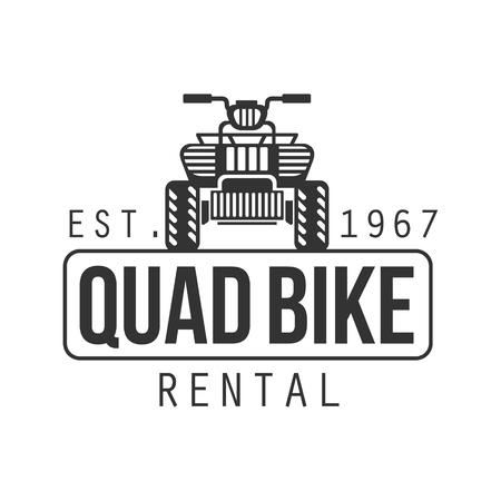 quad: Quad Bike Hire Label Design Black And White