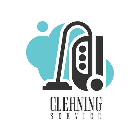 black professional: House And Office Cleaning Service Hire  Template With Vacuum Cleaner For Professional Cleaners Help For The Housekeeping.Vector Label In Blue And Black Color With Cleanup Elements. Illustration