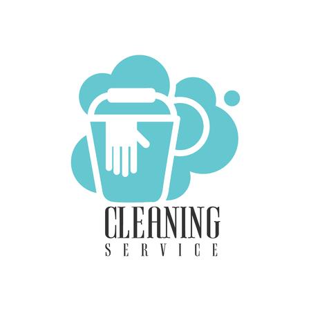 House And Cleaning Service Bureau de voitures Modèle Avec Seau Et Gants Pour Professional Cleaners Aide pour le label Housekeeping.Vector en bleu et blanc couleur avec des éléments de nettoyage.