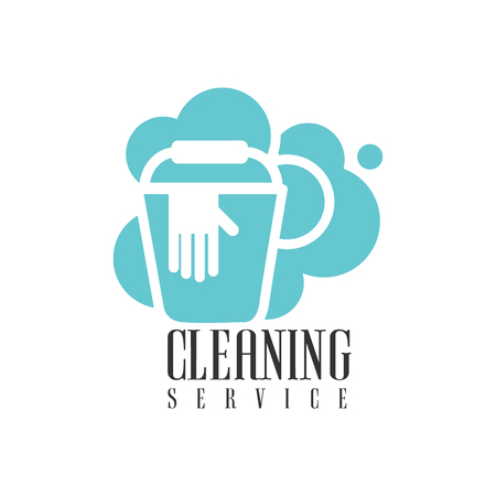 House And Office Cleaning Service Hire  Template With Bucket And Gloves For Professional Cleaners Help For The Housekeeping.Vector Label In Blue And White Color With Cleanup Elements.