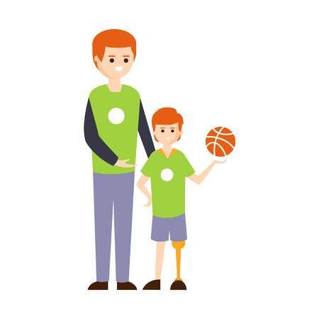 impairment: Physically Handicapped Person Living Full Happy Life With Disability Illustration With Smiling Boy On Prosthetic Leg And His Dad. Disabled Cartoon Character With Physical Impairment Vector Drawing. Illustration