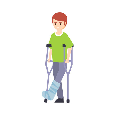 crouches: Physically Handicapped Person Living Full Happy Life With Disability Illustration With Smiling Guy With Broken Leg On Crouches. Disabled Cartoon Character With Physical Impairment Vector Drawing.