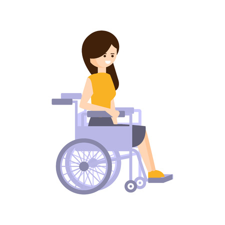 Mozgássérültek élő személy teljes boldog életet Disability illusztráció Mosolygó nő, tolószék. Mozgáskorlátozottak rajzfilmfigura A fizikai károsodással rajzolóprogram. Illusztráció
