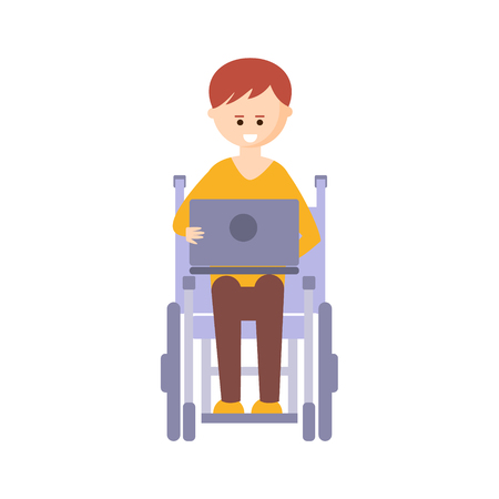 impairment: Physically Handicapped Person Living Full Happy Life With Disability Illustration With Smiling Guy In Wheelchair With Lap Top. Disabled Cartoon Character With Physical Impairment Vector Drawing.