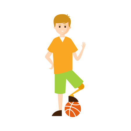 impairment: Physically Handicapped Person Living Full Happy Life With Disability Illustration With Smiling Guy With Artificial Leg Playing Football. Disabled Cartoon Character With Physical Impairment Vector Drawing.