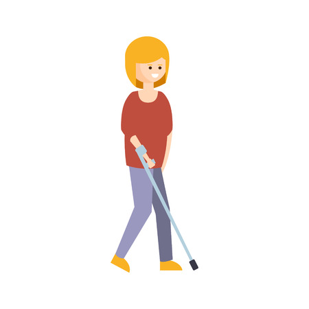 crouch: Physically Handicapped Person Living Full Happy Life With Disability Illustration With Smiling Woman Walking With Crouch. Disabled Cartoon Character With Physical Impairment Vector Drawing.