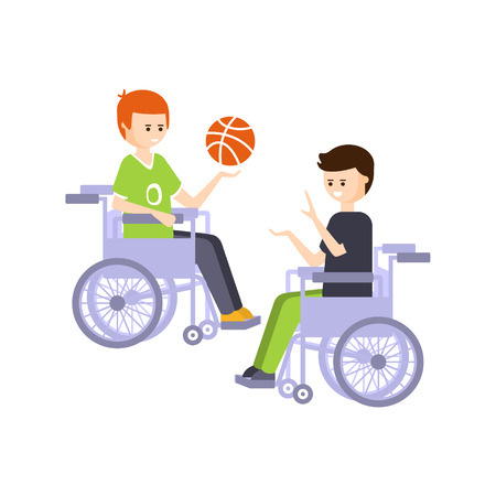 impairment: Physically Handicapped Person Living Full Happy Life With Disability Illustration With Smiling Guys In Wheelchairs Playing Basketball. Disabled Cartoon Character With Physical Impairment Vector Drawing.