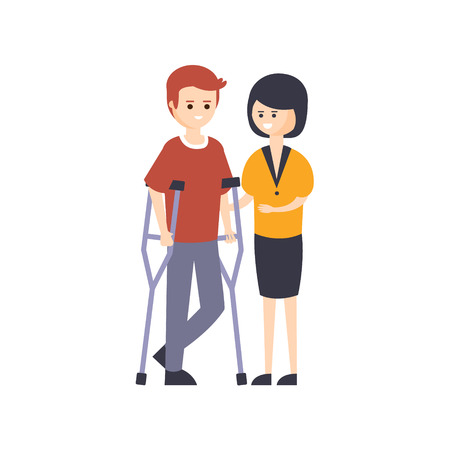 impairment: Physically Handicapped Person Living Full Happy Life With Disability Illustration With Smiling Man On Crouches And His Wife. Disabled Cartoon Character With Physical Impairment Vector Drawing. Illustration